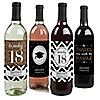 Tassel Worth The Hassle - Gold - 2018 Graduation Wine Bottle Label Stickers - Set of 4