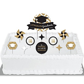 Tassel Worth The Hassle - Gold - 2020 Graduation Party Cake Decorating Kit - Congrats Graduate Cake Topper Set - 11 Pieces