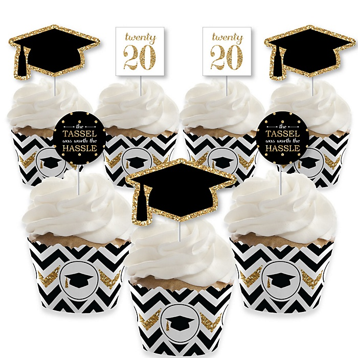 Tassel Worth The Hassle - Gold - Cupcake Decoration - 2020 Graduation Party Cupcake Wrappers and Treat Picks Kit - Set of 24