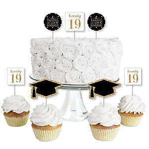 Tassel Worth the Hassle - Gold - Dessert Cupcake Toppers - 2019 Graduation Party Clear Treat Picks - Set of 24