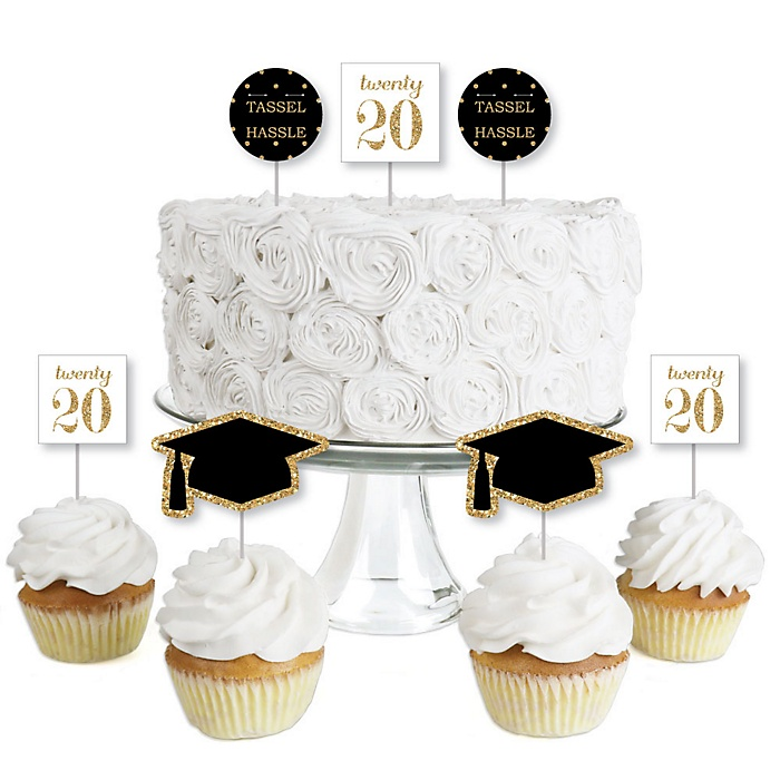 Tassel Worth the Hassle - Gold - Dessert Cupcake Toppers - 2020 Graduation Party Clear Treat Picks - Set of 24