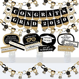 Tassel Worth The Hassle - Gold - Banner and Photo Booth Decorations - 2020 Graduation Party Supplies Kit - Doterrific Bundle