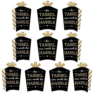 Tassel Worth The Hassle - Gold - Table Decorations - Graduation Party Fold and Flare Centerpieces - 10 Count