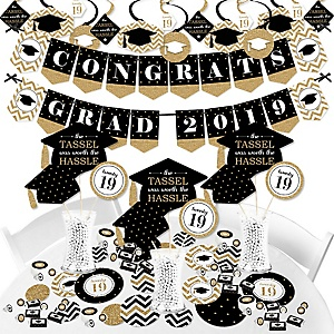 Tassel Worth The Hassle - Gold - 2019 Graduation Party Supplies - Banner Decoration Kit - Fundle Bundle
