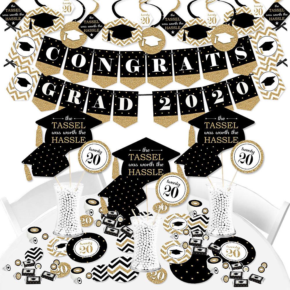 2020 Graduation Party Supplies.Tassel Worth The Hassle Gold 2020 Graduation Party Supplies Banner Decoration Kit Fundle Bundle
