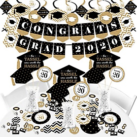 Tassel Worth The Hassle - Gold - 2020 Graduation Party Supplies - Banner Decoration Kit - Fundle Bundle
