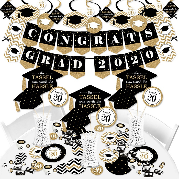 Tassel Worth The Hassle - Gold - 2020 Graduation Party Supplies - Banner Decoration Kit - Fundle Bundle