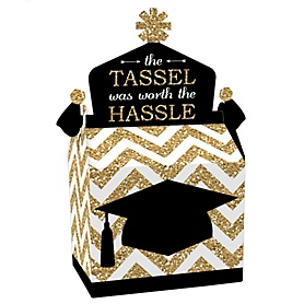 Tassel Worth The Hassle - Gold - Treat Box Party Favors - Graduation Party Goodie Gable Boxes - Set of 12