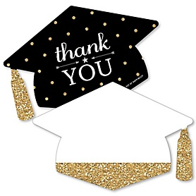 Tassel Worth The Hassle - Gold - Shaped Thank You Cards - Graduation Party Thank You Note Cards with Envelopes - Set of 12