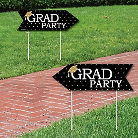 Tassel Worth The Hassle - Gold - Graduation Party Sign Arrow - Double Sided Directional Yard Signs - Set of 2