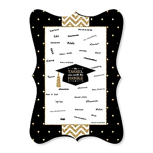 Tassel Worth The Hassle - Gold - Unique Alternative Guest Book - Graduation Party Signature Mat