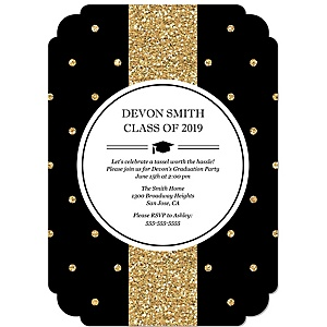 Tassel Worth The Hassle - Gold - Personalized 2019 Graduation Invitations - Set of 12