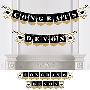 Tassel Worth The Hassle - Gold - Personalized Graduation Party Bunting Banner & Decorations