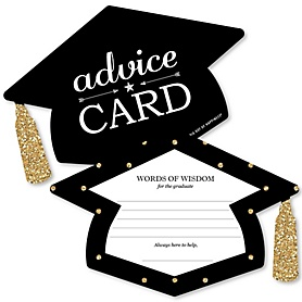 Tassel Worth the Hassle - Gold - Grad Cap Wish Card Graduation Party Activities - Shaped Advice Cards Games - Set of 20