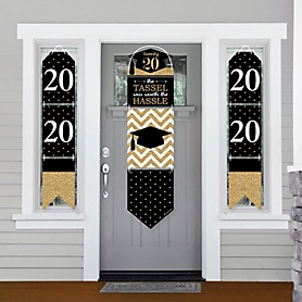 Tassel Worth The Hassle - Gold - Hanging Porch Front Door Signs - 2020 Graduation Party Banner Decoration Kit - Outdoor Door Decor
