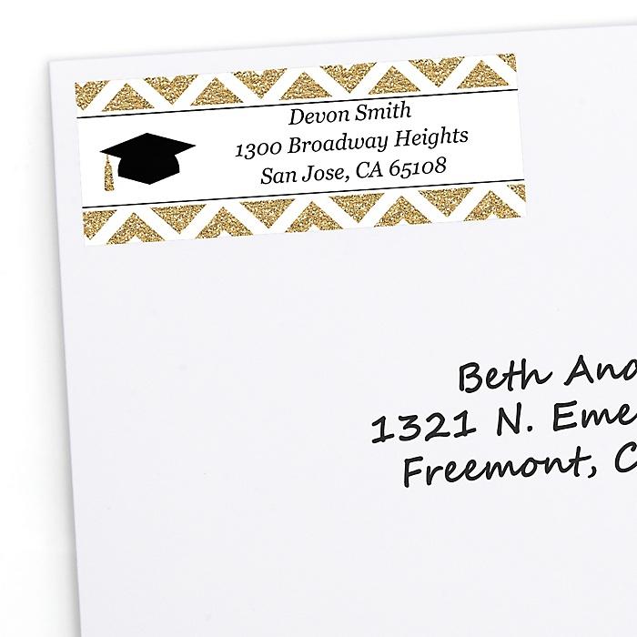Tassel Worth The Hassle - Gold - Personalized Graduation Return Address Labels - 30 ct