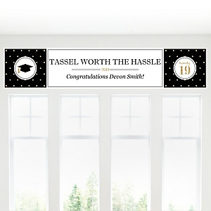 Tassel Worth The Hassle - Gold - Personalized 2019 Graduation Banner
