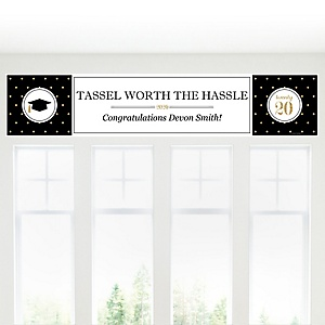 Tassel Worth The Hassle - Gold - Personalized 2020 Graduation Banner