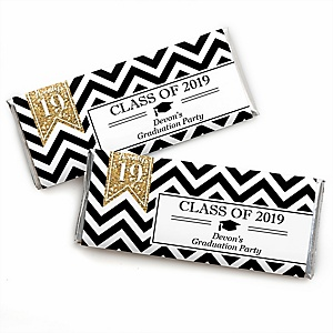 Tassel Worth The Hassle - Gold - Personalized Candy Bar Wrappers 2019 Graduation Party Favors - Set of 24