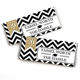 Tassel Worth The Hassle - Gold -  Candy Bar Wrappers 2020 Graduation Party Favors - Set of 24