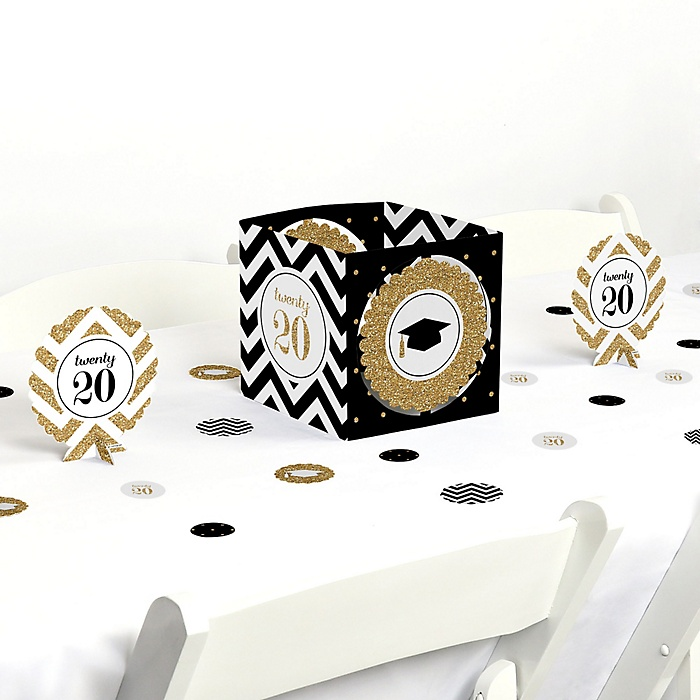 Tassel Worth The Hassle - Gold - 2020 Graduation Party Centerpiece & Table Decoration Kit