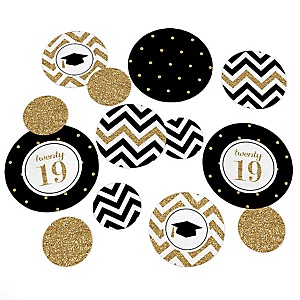 Tassel Worth The Hassle - Gold - 2019 Graduation Party Giant Circle Confetti – Graduation Party Decorations – Large Confetti 27 Count