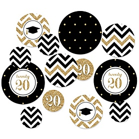Tassel Worth The Hassle - Gold - 2020 Graduation Party Giant Circle Confetti – Graduation Party Decorations – Large Confetti 27 Count