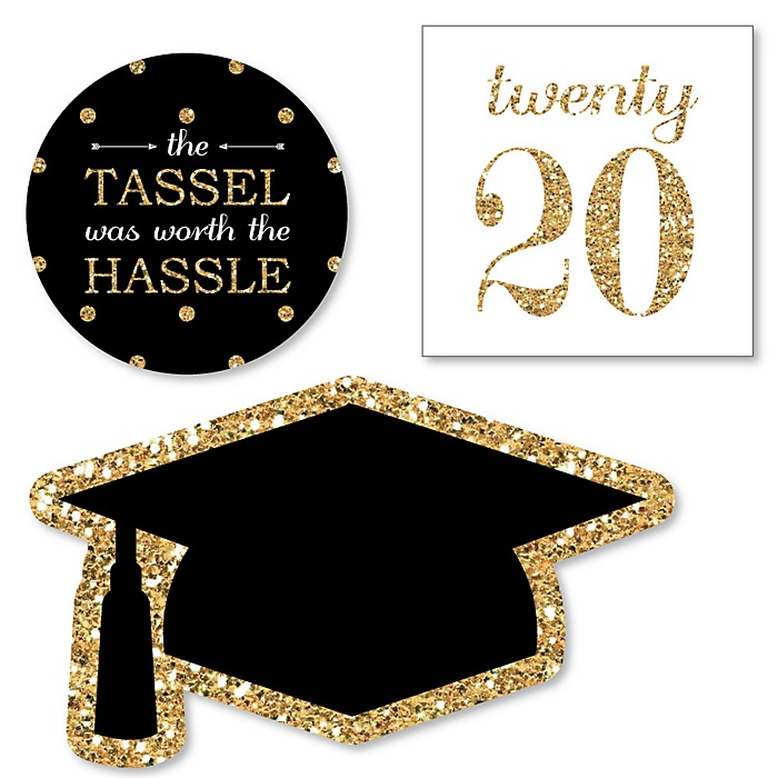 Tassel Worth The Hassle - Gold - DIY Shaped 2020 Graduation Party Paper Cut-Outs - 24 ct