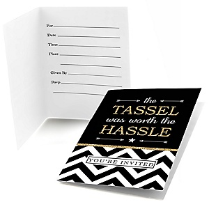 Tassel Worth The Hassle - Gold - Graduation Party Fill In Invitations - 8 ct