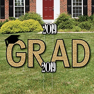 GRAD - Tassel Worth The Hassle - Gold - Yard Sign Outdoor Lawn Decorations - 2019 Graduation Party Yard Signs