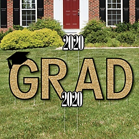 GRAD - Tassel Worth The Hassle - Gold - Yard Sign Outdoor Lawn Decorations - 2020 Graduation Party Yard Signs
