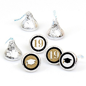 Tassel Worth The Hassle - Gold - Round Candy Labels 2019 Graduation Party Favors - Fits Hershey's Kisses 108 ct