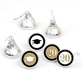 Tassel Worth The Hassle - Gold - Round Candy Labels 2020 Graduation Party Favors - Fits Hershey's Kisses 108 ct