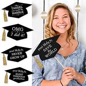 Hilarious Graduation Caps - Gold - Graduation Photo Booth Prop Kit - 20 Count