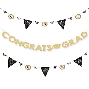 Tassel Worth The Hassle - Gold - 2019 Graduation Party Letter Banner Decoration - 36 Banner Cutouts and Congrats Grad Banner Letters