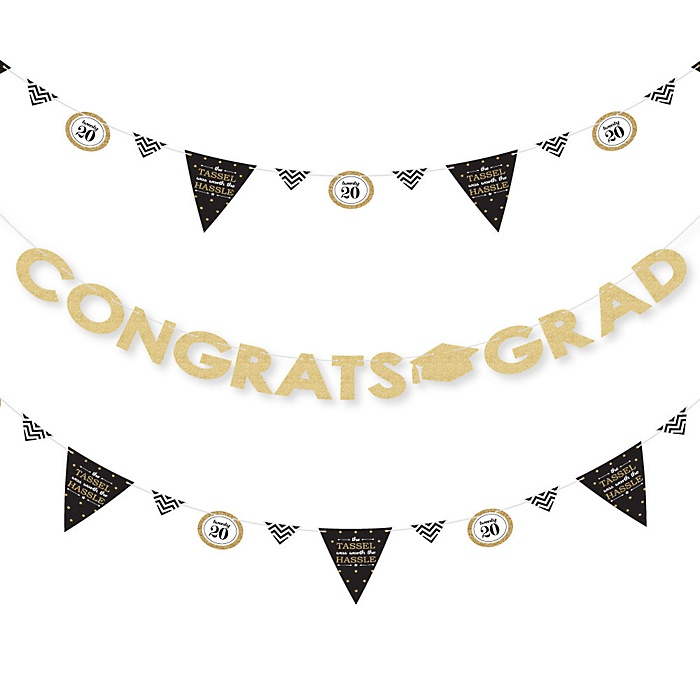 Tassel Worth The Hassle - Gold - 2020 Graduation Party Letter Banner Decoration - 36 Banner Cutouts and Congrats Grad Banner Letters