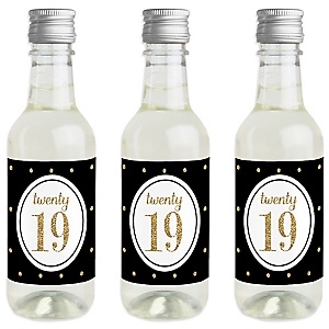 Tassel Worth the Hassle - Gold - Mini Wine and Champagne Bottle Label Stickers - 2019 Graduation Party Favor Gift - Set of 16