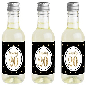 Tassel Worth the Hassle - Gold - Mini Wine and Champagne Bottle Label Stickers - 2020 Graduation Party Favor Gift - For Women and Men - Set of 16