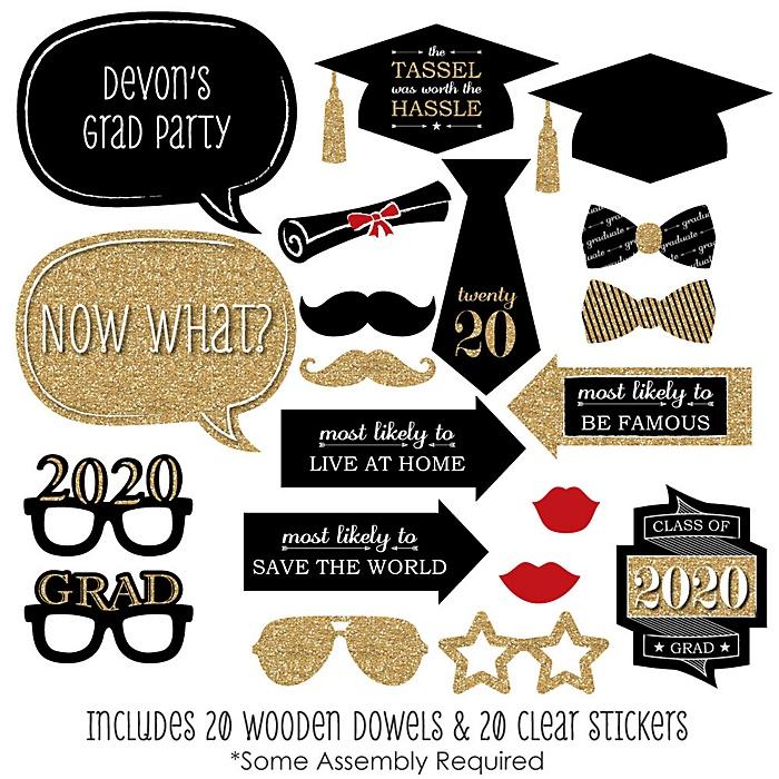 Graduation Party - Gold - 20 Piece 2020 Graduation Party Photo Booth Props Kit