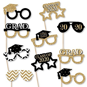 Tassel Worth The Hassle - Gold Glasses - 2020 Paper Card Stock Graduation Party Photo Booth Props Kit - 10 Count
