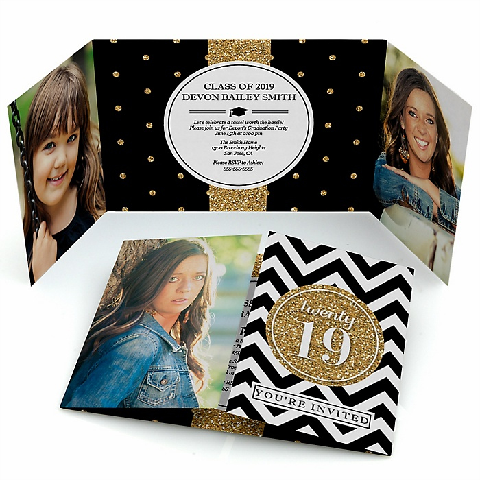 Tassel Worth The Hassle - Gold - Personalized Photo 2019 Graduation Invitations - Set of 12