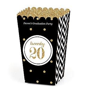 Tassel Worth The Hassle - Gold - Personalized 2020 Graduation Popcorn Favor Treat Boxes - Set of 12