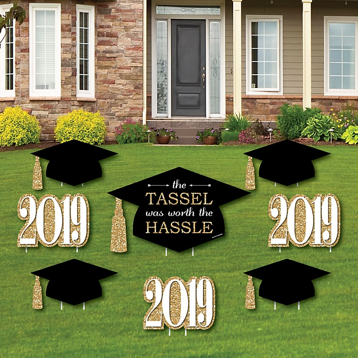 Tassel Worth The Hassle - Gold - Yard Sign & Outdoor Lawn Decorations - 2019 Graduation Party Yard Signs - Set of 8
