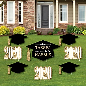 Tassel Worth The Hassle - Gold - Yard Sign & Outdoor Lawn Decorations - 2020 Graduation Party Yard Signs - Set of 8