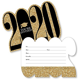 Tassel Worth The Hassle - Gold - 2020 Shaped Fill-In Invitations - Graduation Party Invitation Cards with Envelopes - Set of 12