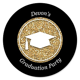 Tassel Worth The Hassle - Gold - Personalized Graduation Sticker Labels - 24 ct