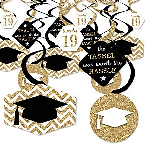 Tassel Worth The Hassle - Gold - 2019 Graduation Party Hanging Decor - Party Decoration Swirls - Set of 40