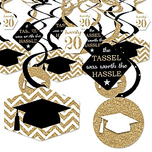 Tassel Worth The Hassle - Gold - 2020 Graduation Party Hanging Decor - Party Decoration Swirls - Set of 40