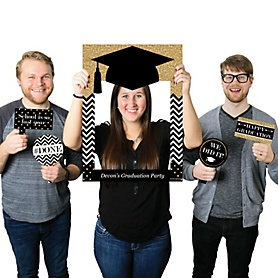 Tassel Worth the Hassle - Gold - Personalized Graduation Party Selfie Photo Booth Picture Frame & Props - Printed on Sturdy Material