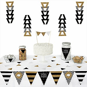 Tassel Worth The Hassle - Gold -  Triangle Graduation Party Decoration Kit - 72 Piece